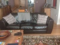 2 Brown leather sofas, in very good condition. 1 medium and 1 large. Pickup only.