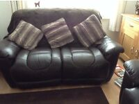 settee brown leather 2 seater manual recliner