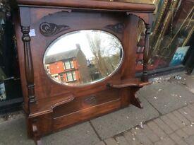 Vintage mahogany over mantle mirror