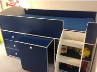 Kids bed combo with desk, shelves and drawers