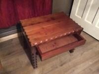 Pine Coffee/Side Table with Draw & Shelf Underneath
