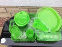 Unused - Picnic set in carry case, 6 plates, cups, beakers, knifes, forks, spoons & serving plate