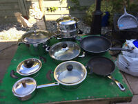 MIXTURE OF POTS, PANS WITH A FRYING PAN AND STEAMER