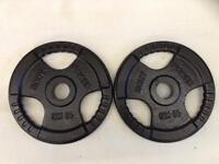2 x 10kg Bodypower Olympic Tri-Grip Cast Iron Weights