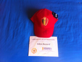 HAND SIGNED EDEN HAZARD FOOTBALL CAP WITH CERTIFICATE OF AUTHENTICITY