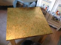 VERY UNUSUAL TABLE ,MADE WITH REAL GOLD LEAF ,ITS ACTUALLY BEAUTIFUL , BUT NO SPACE AS HAVE MOVED