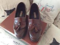 Italian Designer leather dark tan tassel loafers size 4.5 (Eur 37.5)