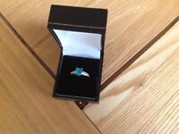 Topaz sterling silver ring for sale small size J/K