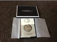 Authentic anya hindmarch leather stickers silver smiley face