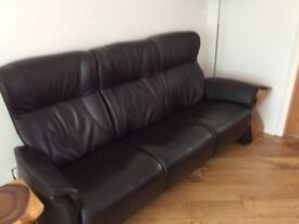 Three seater leather sofa and recliner chair