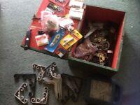 Box of brackets/hinges/bolts etc.