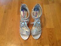 Silver Diamanté Strappy Sandals **** Never worn *** size 6.5/EUR 40