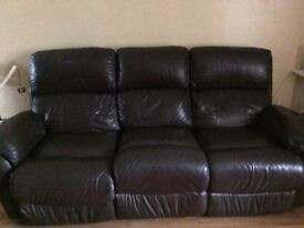 Brown leather recliner 3 + 2 seater sofas