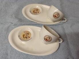 Pair of 1940's/50's Ovaltine matching cups and biscuit plates £20