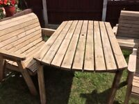 Charles Taylor Wood, outdoor Garden Furniture Patio Set, table & chairs seats 6 easily & comfortably