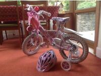Raleigh Mini Miss bike with removable stabilisers + free helmet and horn