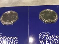 2 x 50p Isle of Man Platinum Wedding Anniversary Coins - BU condition.