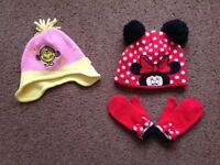 Minnie Mouse hat and mitten set, and Little Miss Sunshine winter hat Age 2