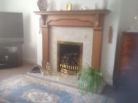 Marble fireplace with wooden suround