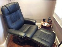 Black leather electric massage chair with remote