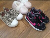 Size 9 Nike Air Girls trainers, H&M animal print shoes, George slippers