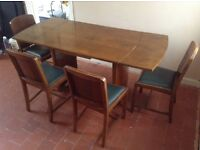 Solid Walnut Extendable Dinning Room Table and 4 Chairs