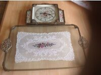 DRESSING TABLE VINTAGE GLASS ORNATE TRAY WITH LACE IN GLASS AND BEAUTIFUL CLOCK TO MATCH