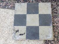 Black & white old quarry tiles