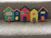 Set of 5 colourful hooks, suitable for bedroom or cloakroom, very good condition
