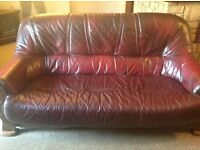 Leather 3 piece sofa and chair