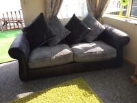 3+2 seater sofas black and grey