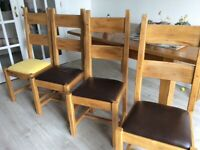 Oak and leather kitchen chairs