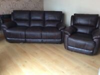 Brown Leather Recliner Sofa & Armchair