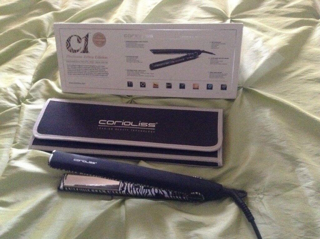 Nearly New Professional Hair Straightner by Corioliss C1 Zebra Platinum EDition Titanium