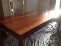 Beautiful cherry wood dining room table 6 matching chairs dark blue seats and a small sideboard