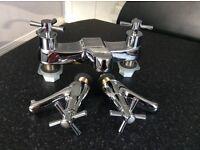 Brand New, matching, chrome mixer bath and basin taps