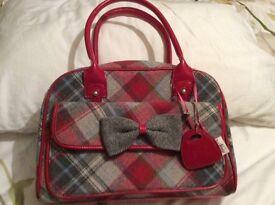 Ness red & grey tweed check handbag, excellent condition