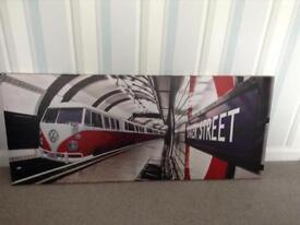 VW CAMPERVAN Tube Train Canvas Picture