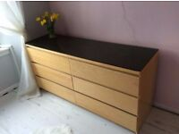 IKEA MALM Chest of 6 drawers -Oak effect