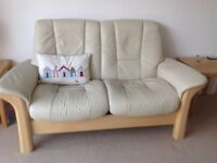 STRESSLESS LEATHER TWO SEATER SOFA WITH RECLINING SEATS