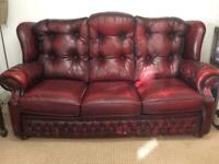 Chesterfield sofa and armchair