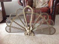 Antique/vintage folding brass peacock fire screen