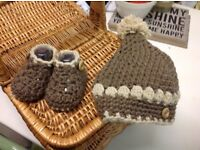 New hand crochet baby hat and shoes