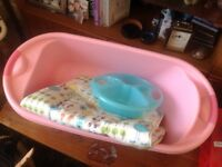 Pink baby bath, top and tail bowl and changing mat