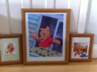 Winnie the Pooh pictures in wooden frames. 3 pictures sold as a set.