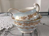 Colclough Bone China Milk Jug & Sugar Bowl, Pale Blue, Gold & White.
