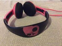Skullcandy Padded On The Ear Headband Wired Headphones in Hot Pink & Black Design (UNUSED)