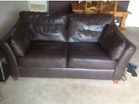 M&S brown leather settees one of which is a large Brown leather settee Brown leather sofa bed
