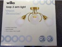 Wilko 3 Light Ceiling Fitting Antique Brass Finish