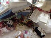 Jo b Lot of sewing, crafting items, ribbon, scraps, small pieces wadding, tapestry, linen tablecloth